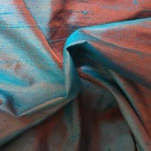 100% Silk Dupion - Shot Turquoise / Pink