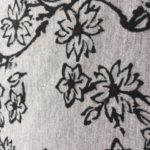 3745 Floral Print Fabric Black & White