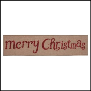 red glittery merry christmas CR18-7 premium wire edge ribbon