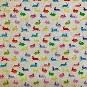 Rainbow Rabbits Popart Linen