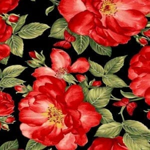 Red Roses and Butterflies Fleur-C7970-black