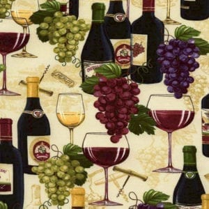 Timeless Treasures Wine Bottles and Grapes