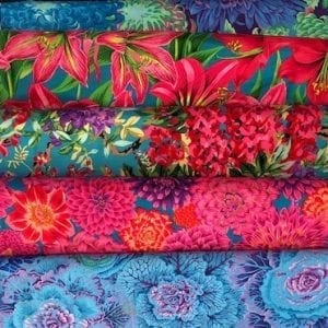 Flowery Brights: 5 Fat Quarters, Kaffe Fassett Collective