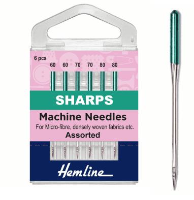 Size 60/8 - 80/12: Sharps Hemline Sewing Machine Needles (6 pack)