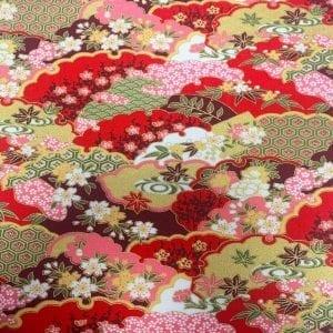 2293.18 Red Multi Floral: Japanese Met