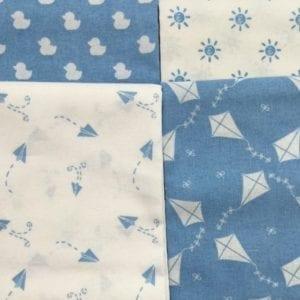 4 Fat Quarters Blue Nursery Basics