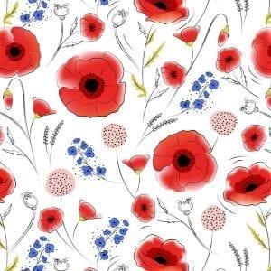 Poppy Fields 2828-01 White