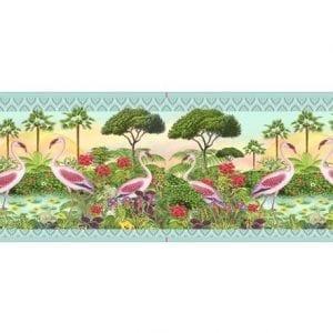 Designer Velvet Borders Flamingos