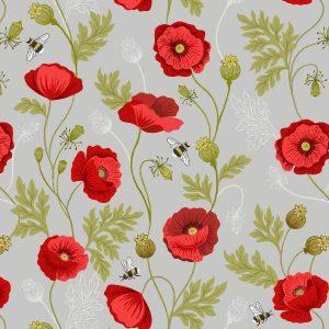Poppies A553.1 Light Grey